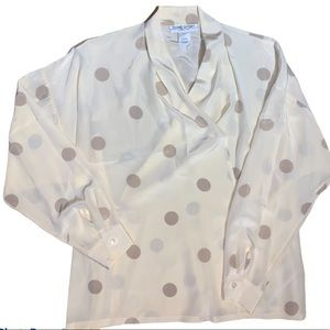 Vintage Alfred Sung Sport Cream/Taupe Top Size 12